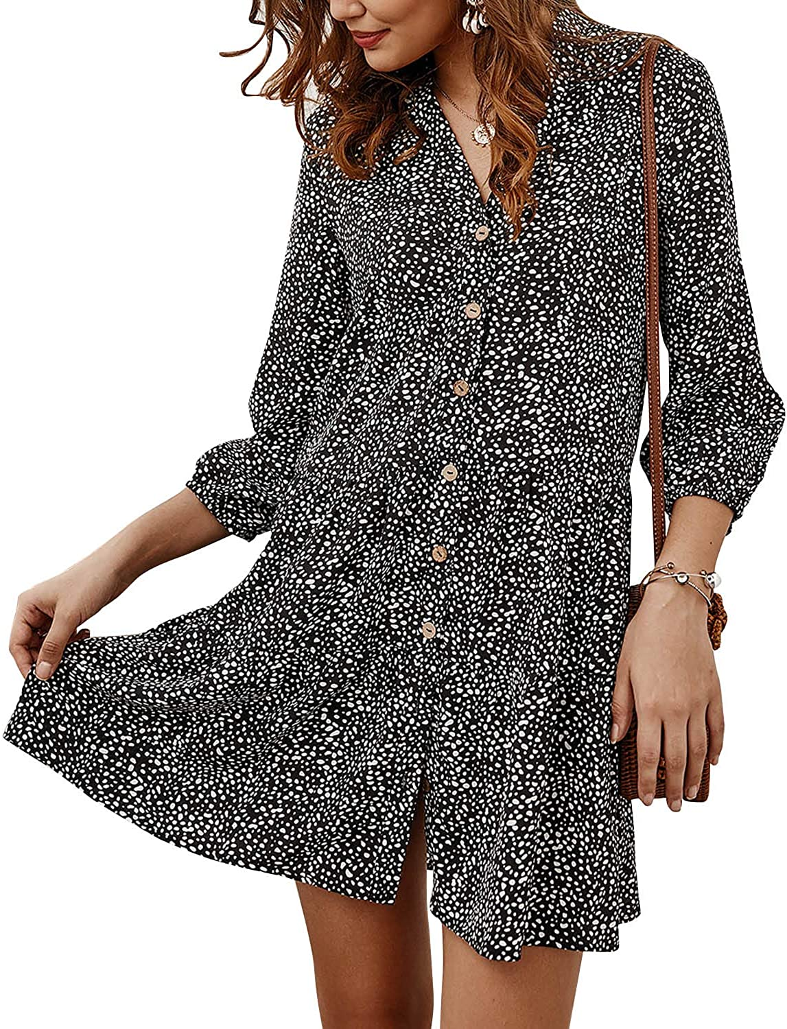 SOLERSUN Womens Casual Leopard Tunic Dress Long Sleeve V Neck Loose Swing Babydoll Dresses