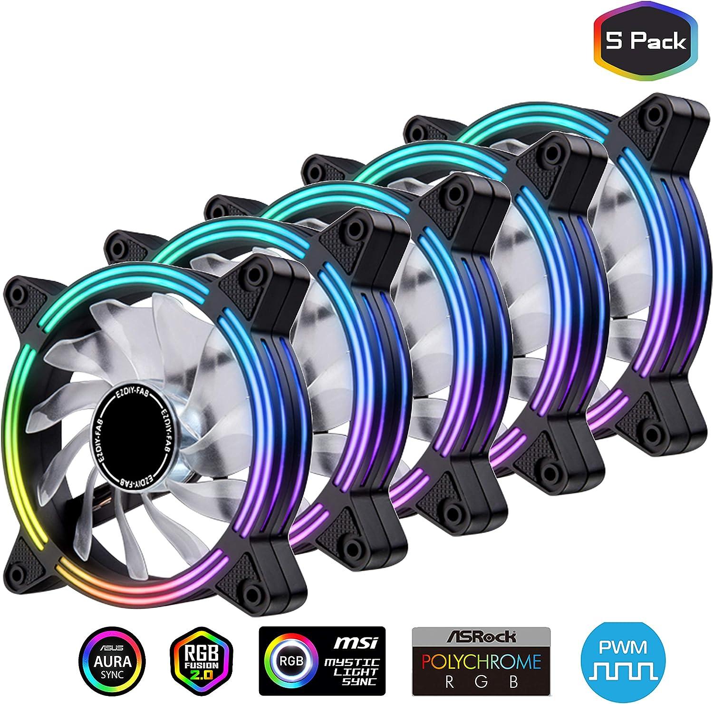 EZDIY-FAB 5-Pack 120mm Dual Frame RGB PWM Fans for PC Case,Ventilador de Caja RGB direccionable con hubs de Ventilador, Ventilador de refrigeración de la CPU, Compatible con ASUS Aura Sync