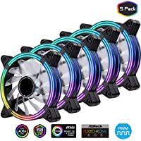 EZDIY-FAB 5-Pack 120mm Dual Frame RGB PWM Fans for PC Case,Addressable RGB Case Fan with Fan Hubs,5V ARGB 3-pin Motherboard Sync,ASUS Aura Sync