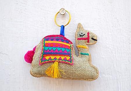 VLiving Multicolor camello llavero, borla, hecho a mano ...