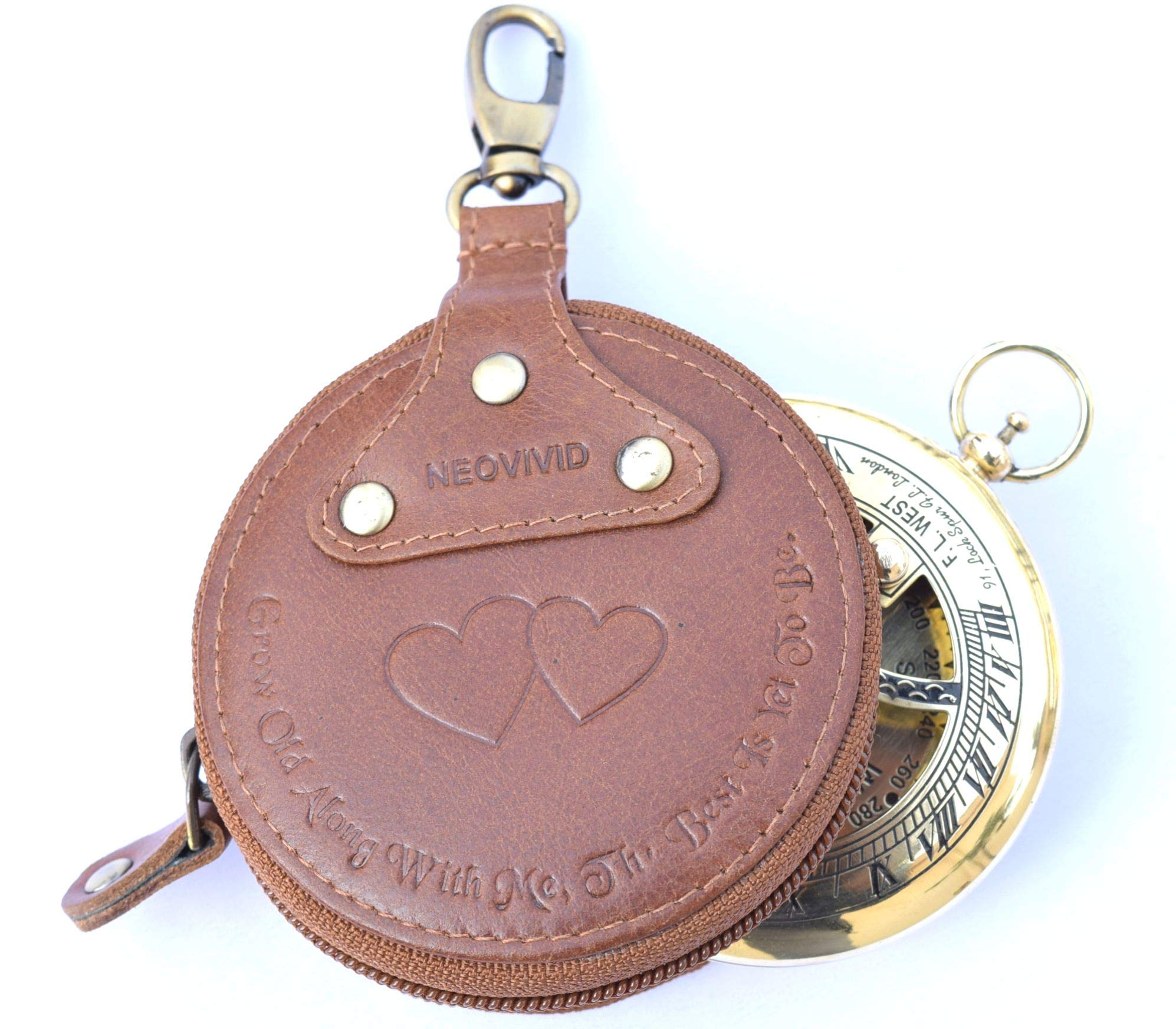 NEOVIVID Grow Old Along with Me Sundial - Sundial Compass - Sundial Clock - Anniversary Sundial Gift - Valentine's Sundial (Brass and Leather) by NEOVIVID