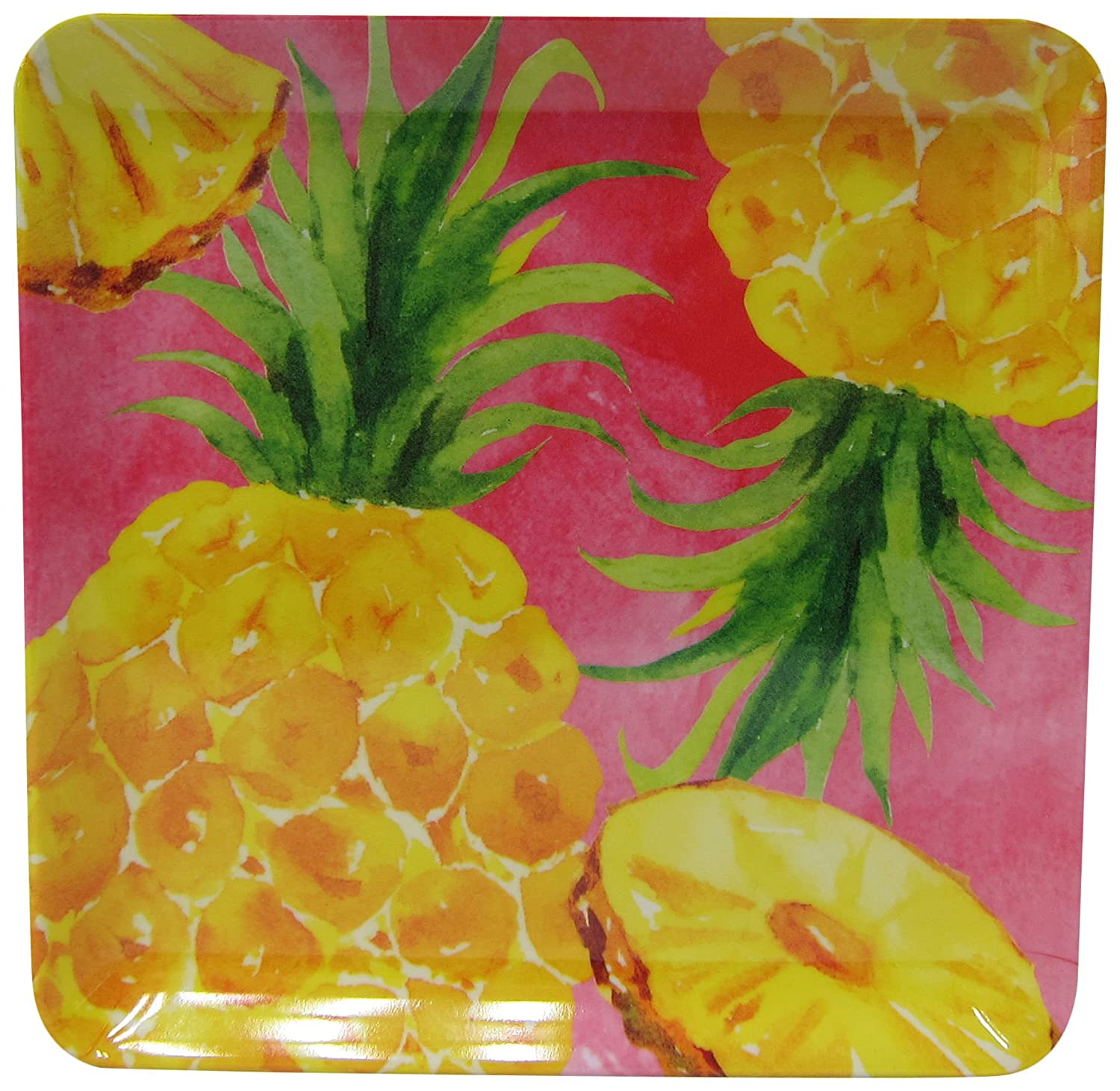 amazon com tropix pineapple appetizer plate one size yellow pink