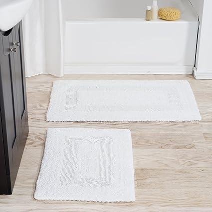 lavish home cotton bath mat set 2 piece 100 percent cotton mats reversible - Cotton Bathroom Mat