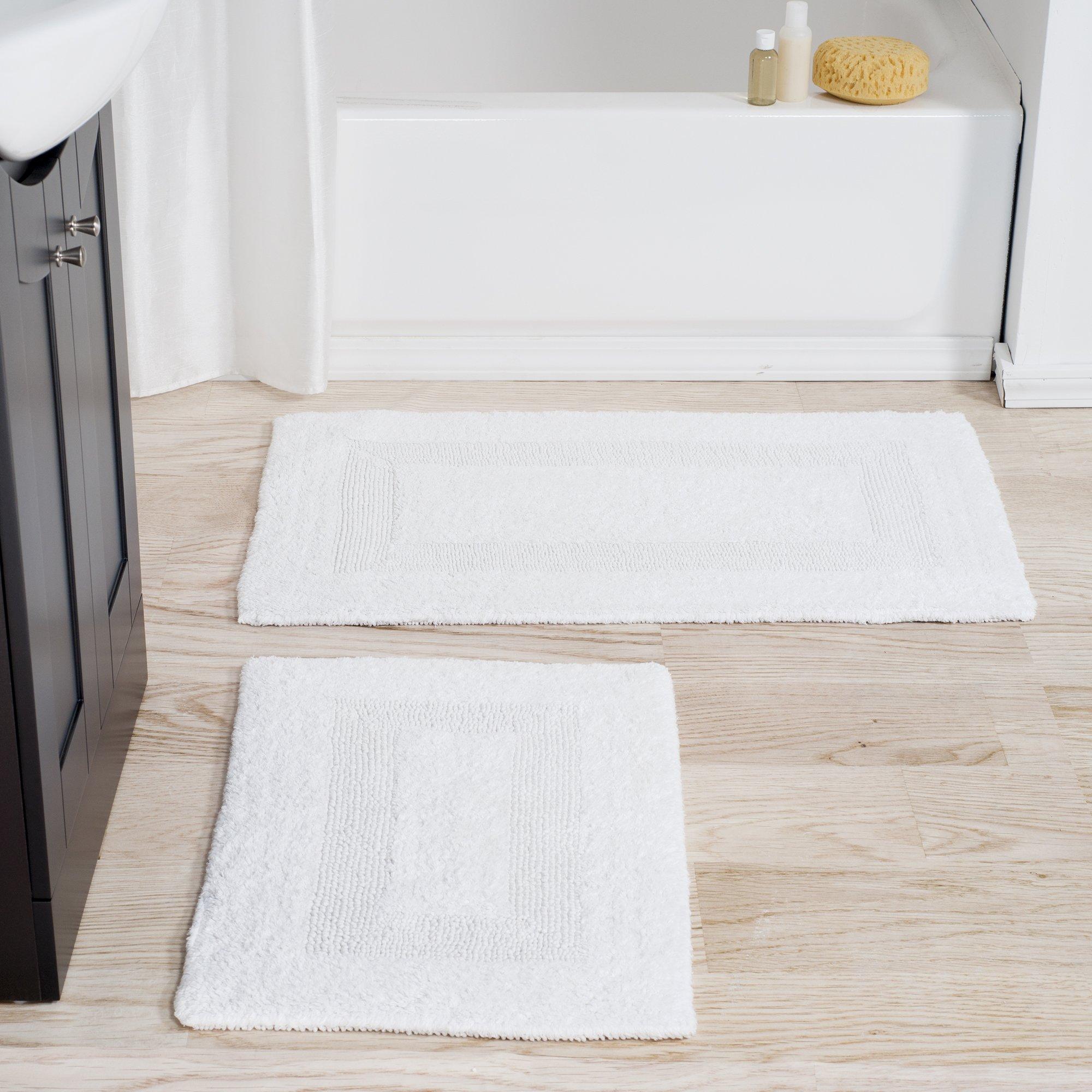 Cotton Bath Mat Set- 2 Piece 100 Percent Cotton Mats- Reversible, Soft, Absorbent and Machine Washable Bathroom Rugs By Lavish Home (White)