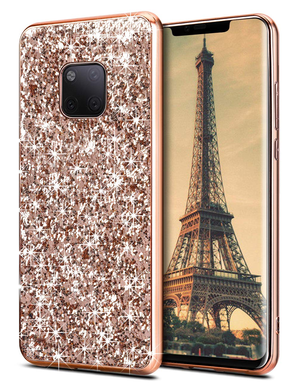 Coolden Compatible Luxe Bling Bling Paillettes Coque Fin résistant aux Chocs Shining Coque de Protection Huawei Mate 20Pro