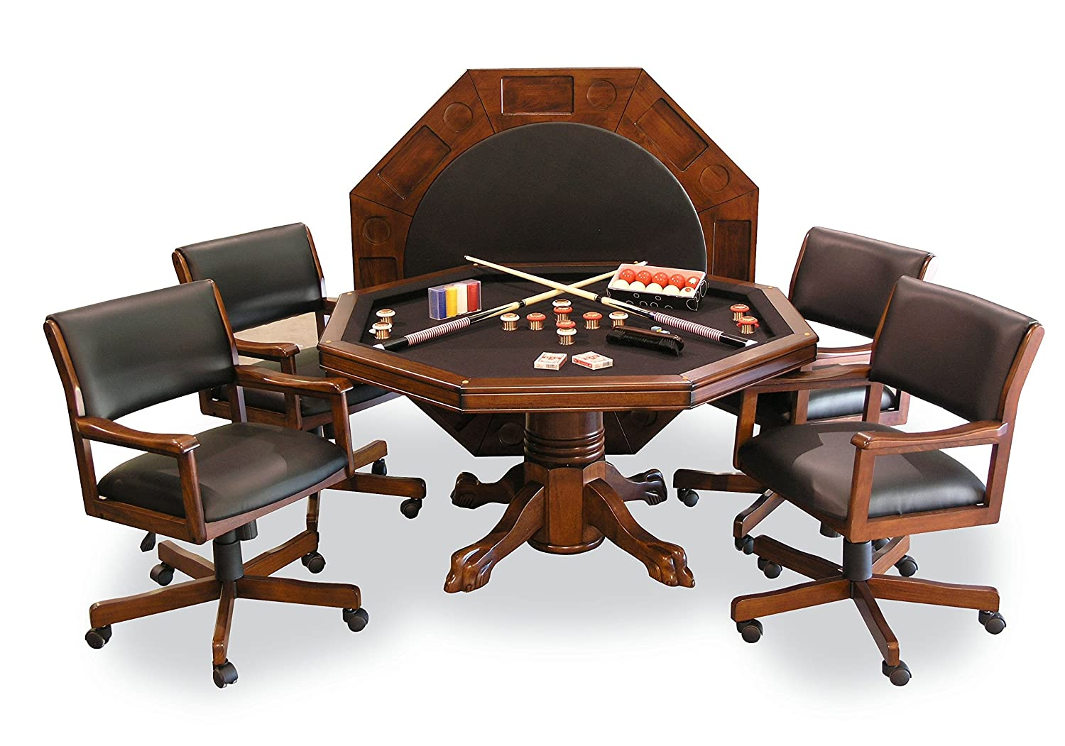 54 3-in-1 Combination Game Dining Table Set with 4 Rocker-Swivel Chairs Chestnut Finish