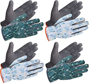 SEUROINT Garden Gloves, Work Gloves with PVC Dots, Light-duty Breathable Cozy Gardening Gloves for Unix, 4 Pairs, Dark blue & White, Large Size