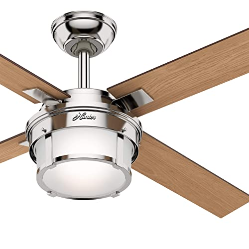 Hunter Fan 52 inch Casual Polished Nickel Indoor Ceiling Fan with Light Kit Remote Renewed