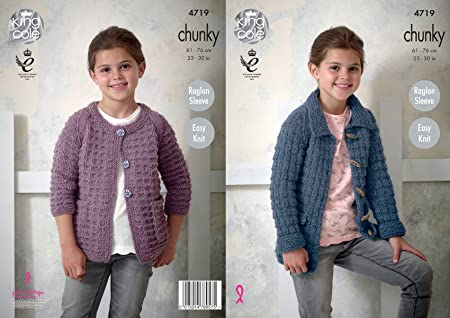 48892b678 Image Unavailable. Image not available for. Colour  King Cole 4719 Knitting  Pattern Girls Easy Knit Raglan Sleeve Jackets in King Cole Chunky