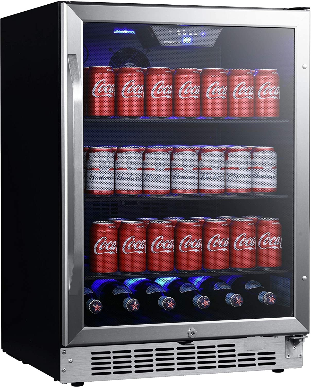 EdgeStar CBR1502SG 24 Inch Wide 142 Can Built-in Beverage Cooler with Tinted Door