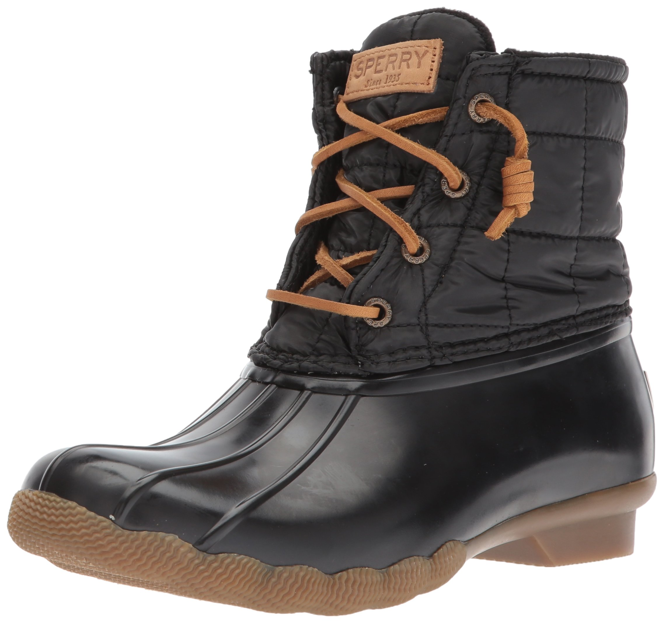 Sperry Top-Sider Women's Saltwater Shiny Quilted Rain Boot, Black, 7 Medium US