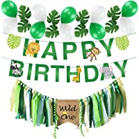 Wild One Birthday Decorations, Wild One Kids 1st Birthday HighChair Banner, Safari Zoo Animals Happy Birthday Banner with 12 PCS Artificial Palm Leaves for Baby Girl Boy 1st Birthday Jungle Safari Party Decorations Supplies