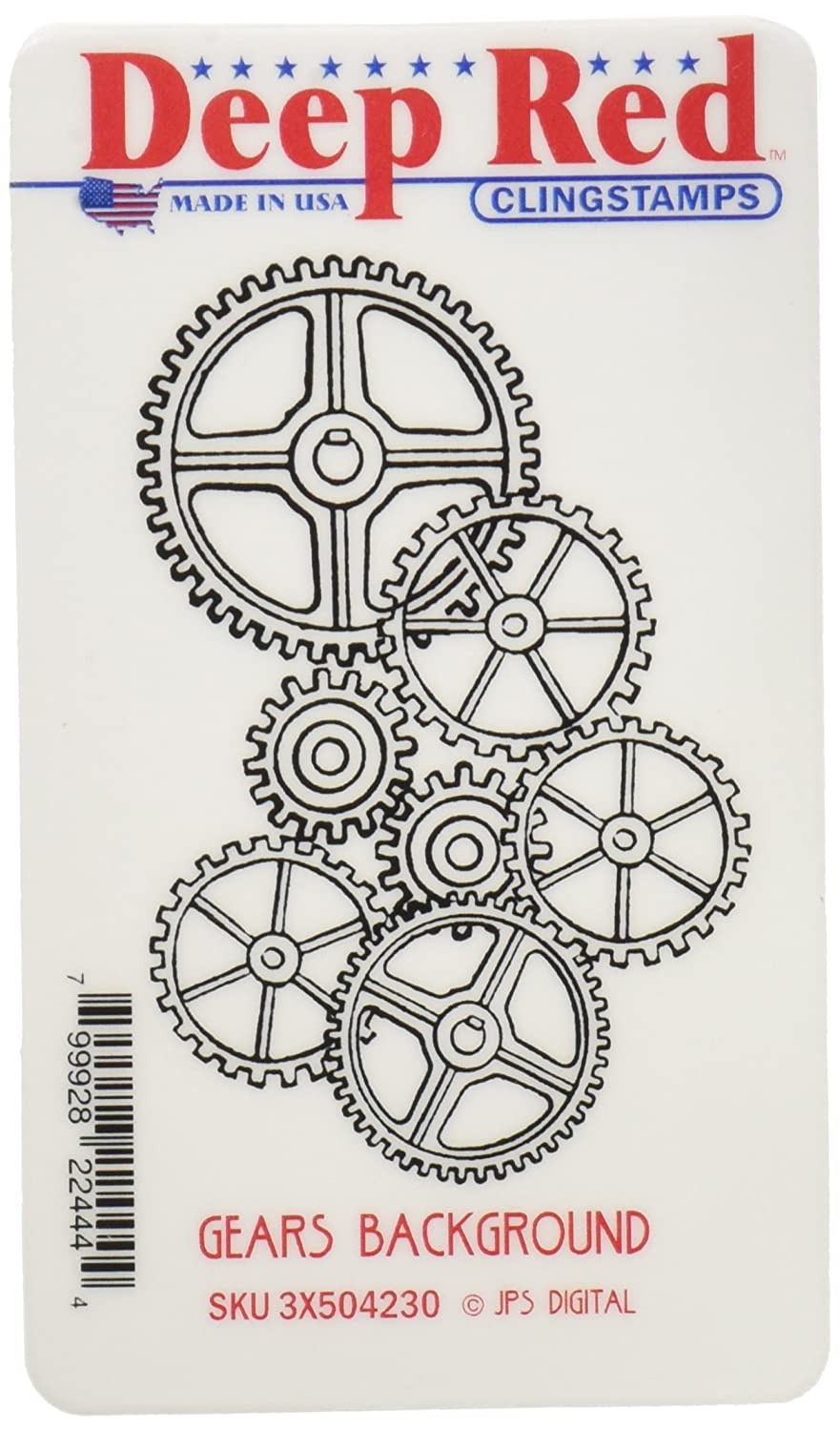 Deep Red Stamps Gears Background Rubber Stamp Notions - In Network 3x504230