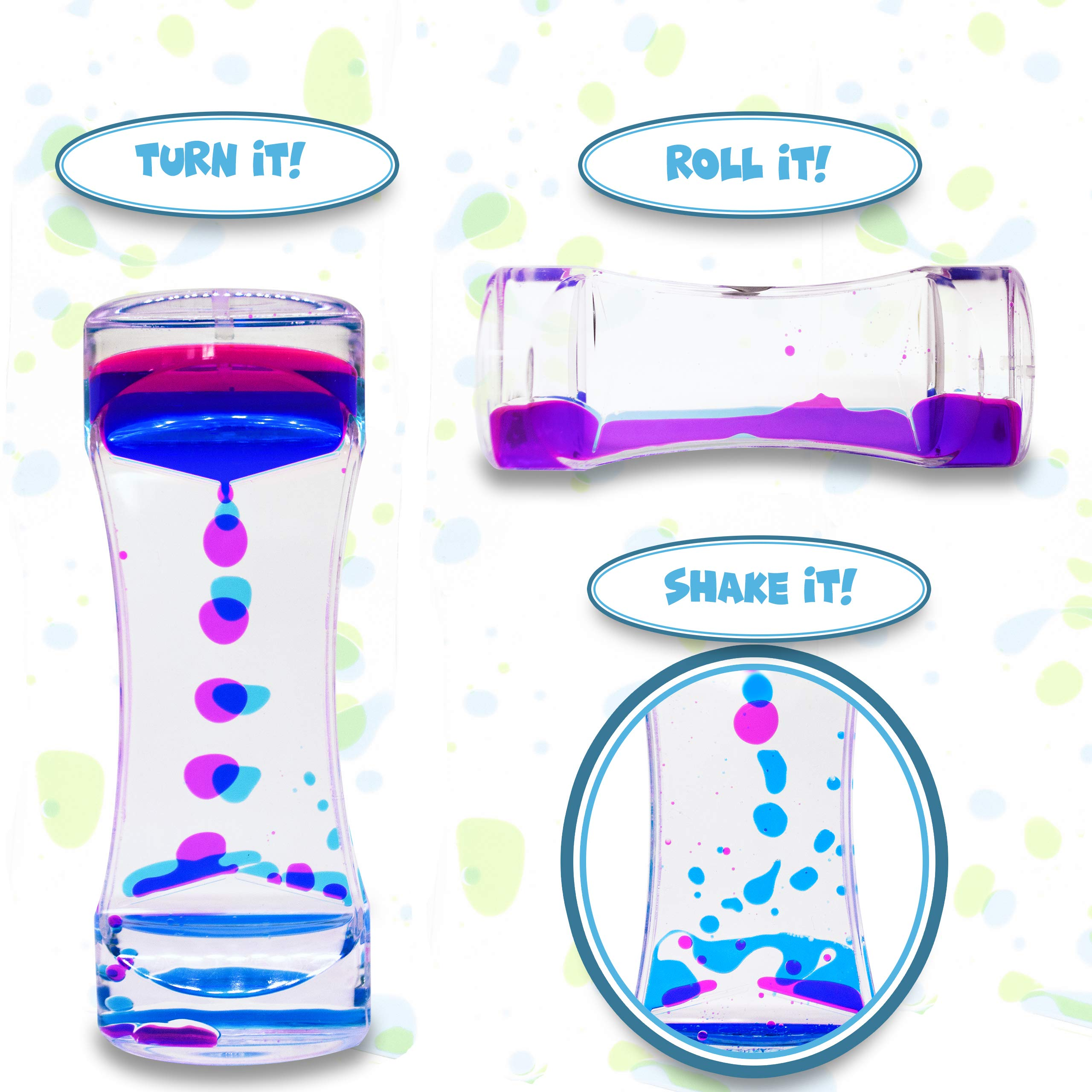 HeyWhey- Liquid Motion Bubbler Timer, 3-Pack Bundle Great for Gifts Parties Holidays, Calm and Relaxing Novelty Desk Toy, Sensory and Fidget Toys for Anxiety Autism ADHD Stress Relief Kids and Adults, by HeyWhey Toys (Image #7)