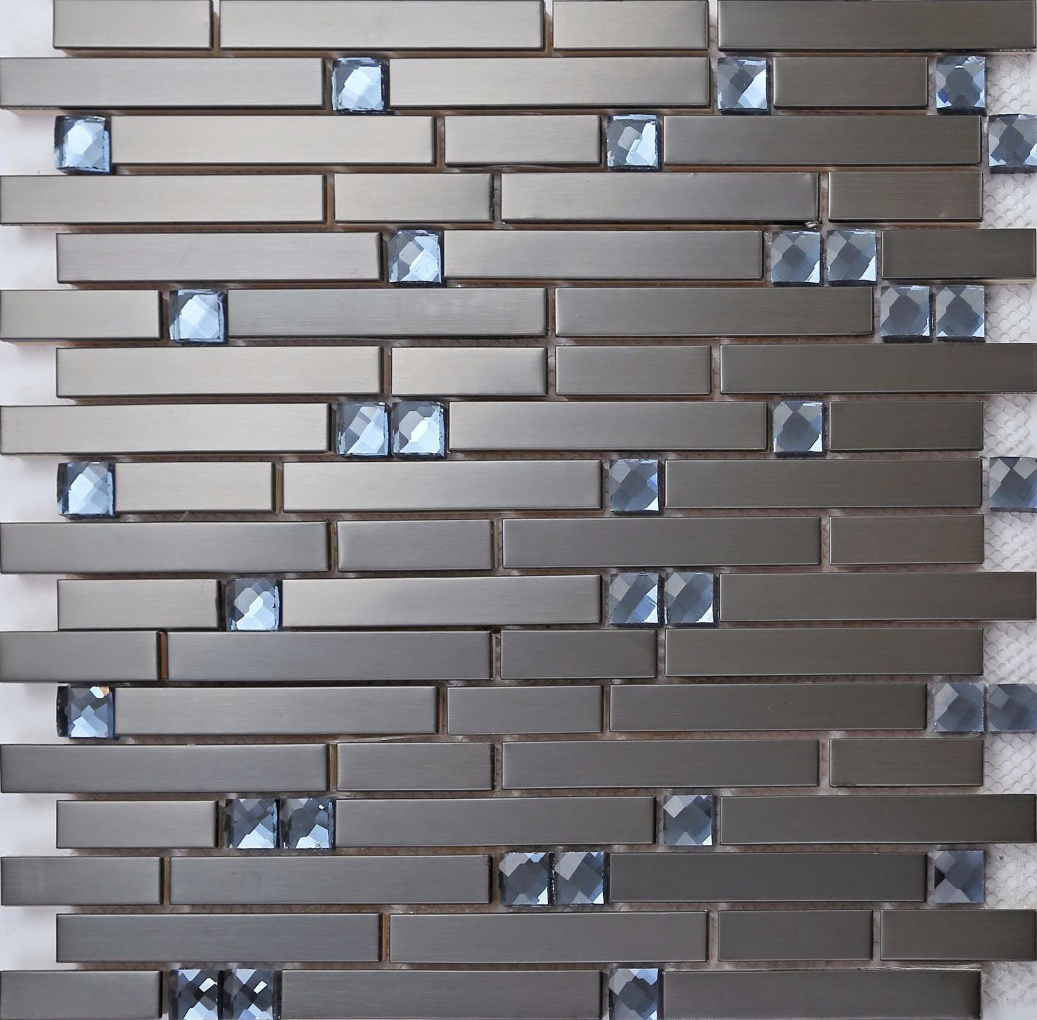 11 Sheets, 1m² Black Stainless Steel and Blue Diamond Glass Brick Shape Mosaic Tiles Sheet (MT0136) 1m² Black Stainless Steel and Blue Diamond Glass Brick Shape Mosaic Tiles Sheet (MT0136) Grand Taps