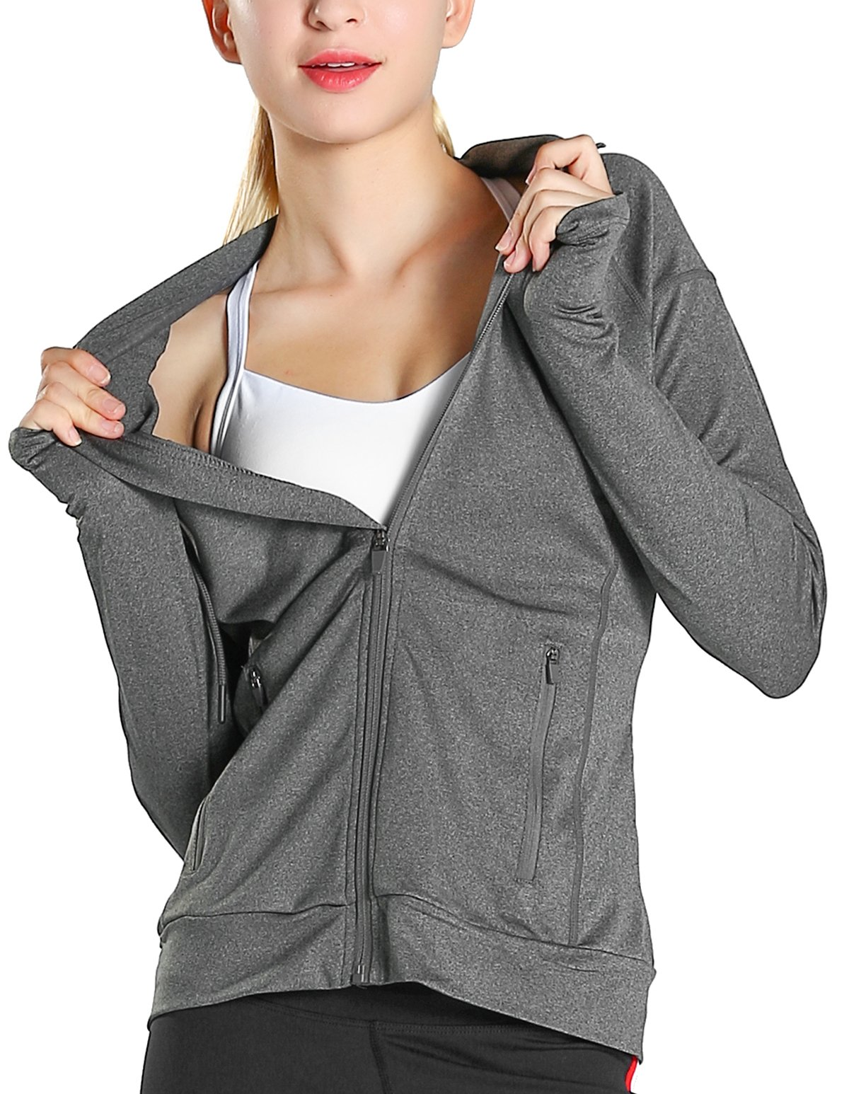 Fastorm Womens Full Zip Athletic Jacket Hoodie Activewear Workout Sweatshirt Track Jackets with Thumb Holes Grey L