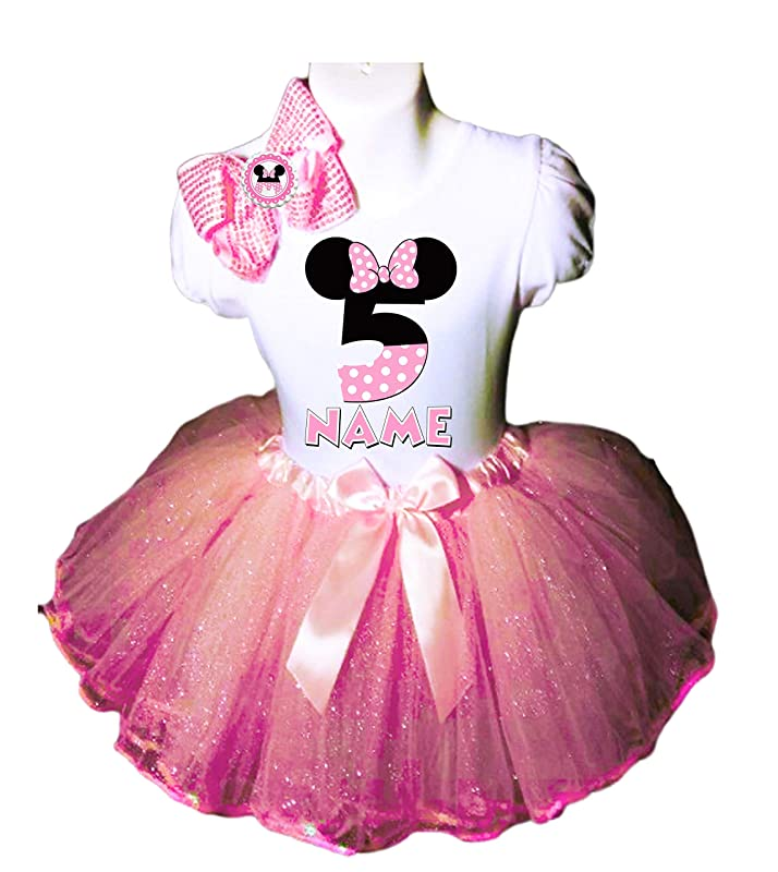 MINNIE MOUSE Dress **NAME** 2nd second 2 Birthday pink Tutu dress Fast Shipping