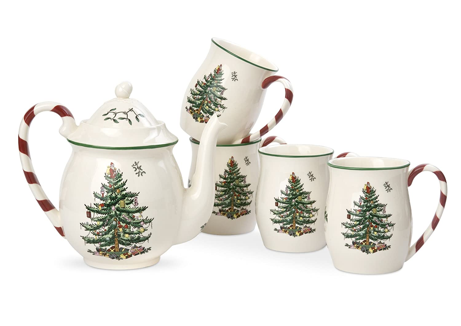 Amazon.com | Spode Christmas Tree Peppermint Tea Set: Tea Services ...