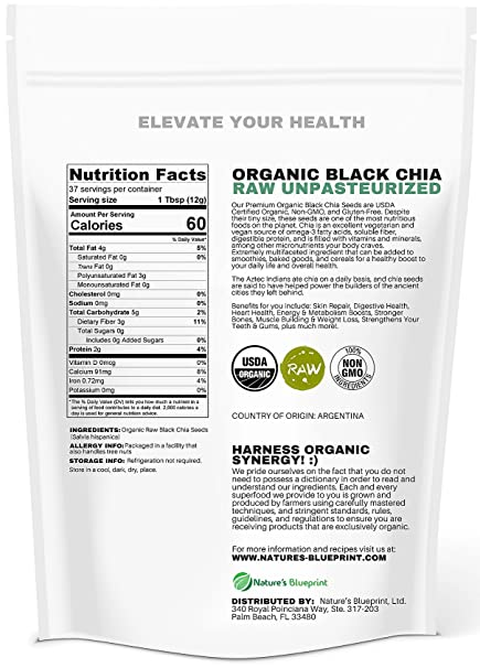 Amazon.com : Chia Seeds-USDA Organic & RAW, NON-GMO, Vegan Plant Protein, Whole Black Premium Quality, High Performance Energy, Superfood Full of Nutrients, ...