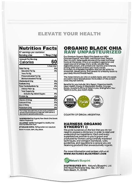 Amazon.com : Chia Seeds-USDA Organic & RAW, NON-GMO, Vegan Plant Protein, Whole Black Premium Quality, High Performance Energy, Superfood Full of Nutrients, ...