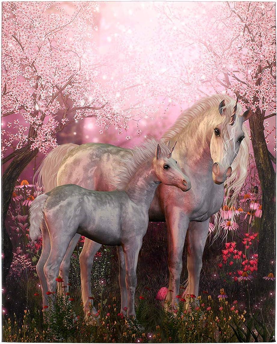 Hai Tun Wan Canvas Art Home Decoration Painting Wooden Frame Unicorn Horse Girl Room Wall Art Decoration Printing Animal Painting 16x20