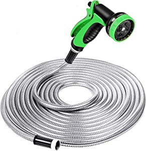 SPECILITE Heavy Duty 304 Stainless Steel Garden Hose 25ft, Outdoor Metal Water Hoses with Nozzle & 10 Pattern Spray Nozzle for Never Kink & Tangle, Puncture Resistant, Flexible, Portable