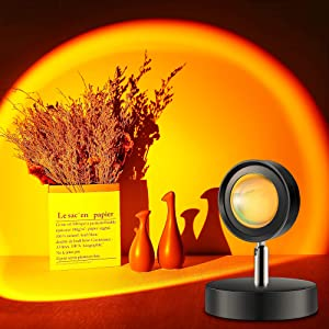 Sunset Lamp, Sunset Light Projection Lamp with 360 Degree Rotation, Brighter UFO Shape Setting Sun Ambient LED Light for Room Decor, Shade Art Photography, Party, Outdoors, Soft Romantic Warm Lights