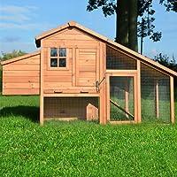 Zooprimus ❤ Poulailler en bois pour jardin extérieure 2/5 poules ❤ cage canard 2 perches Modèle Confort 190x62x114 cm
