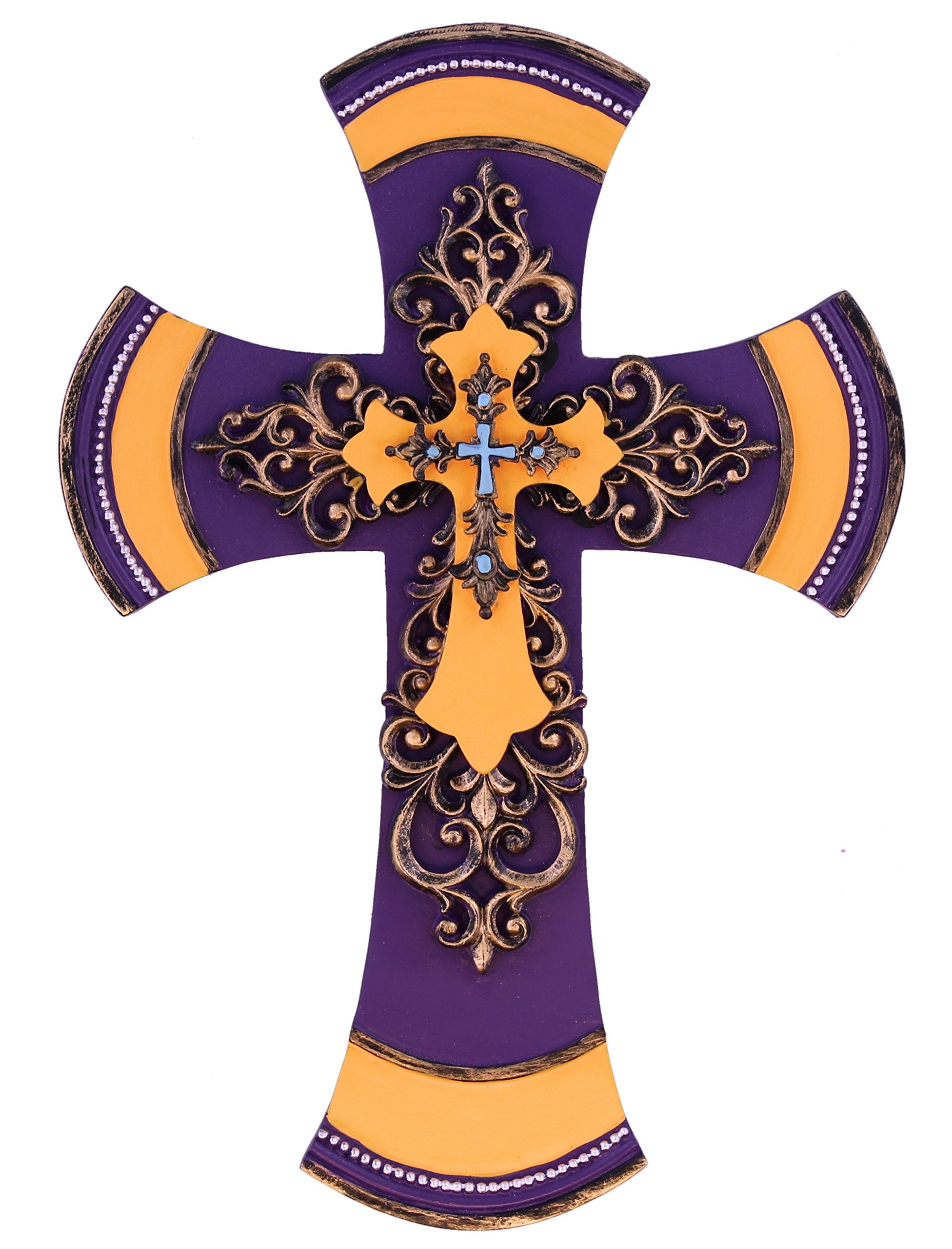 11 1/2'' Decorative Layered Tuscan Wall Cross Scrolly Fleur De Lis - Mardi Gras Purple