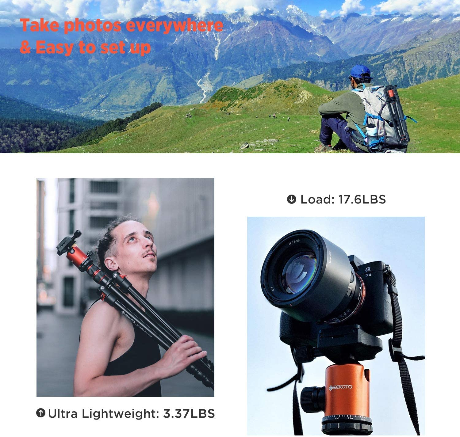 GEEKOTO 77'' Tripod, Camera Tripod for DSLR, Compact Aluminum Tripod with 360 Degree Ball Head and 8kgs Load for Travel and Work : Camera & Photo