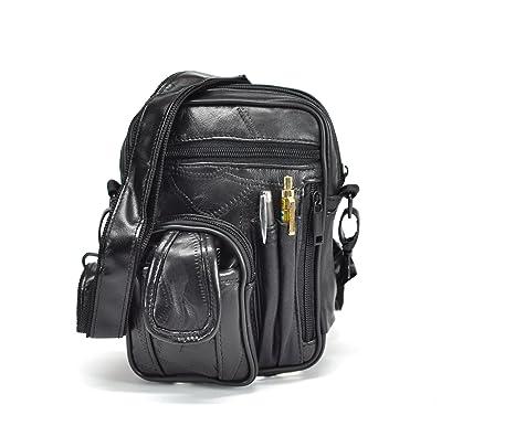 a basso prezzo c8749 84951 borsello uomo nero in pelle nero multitasche vintage: Amazon ...