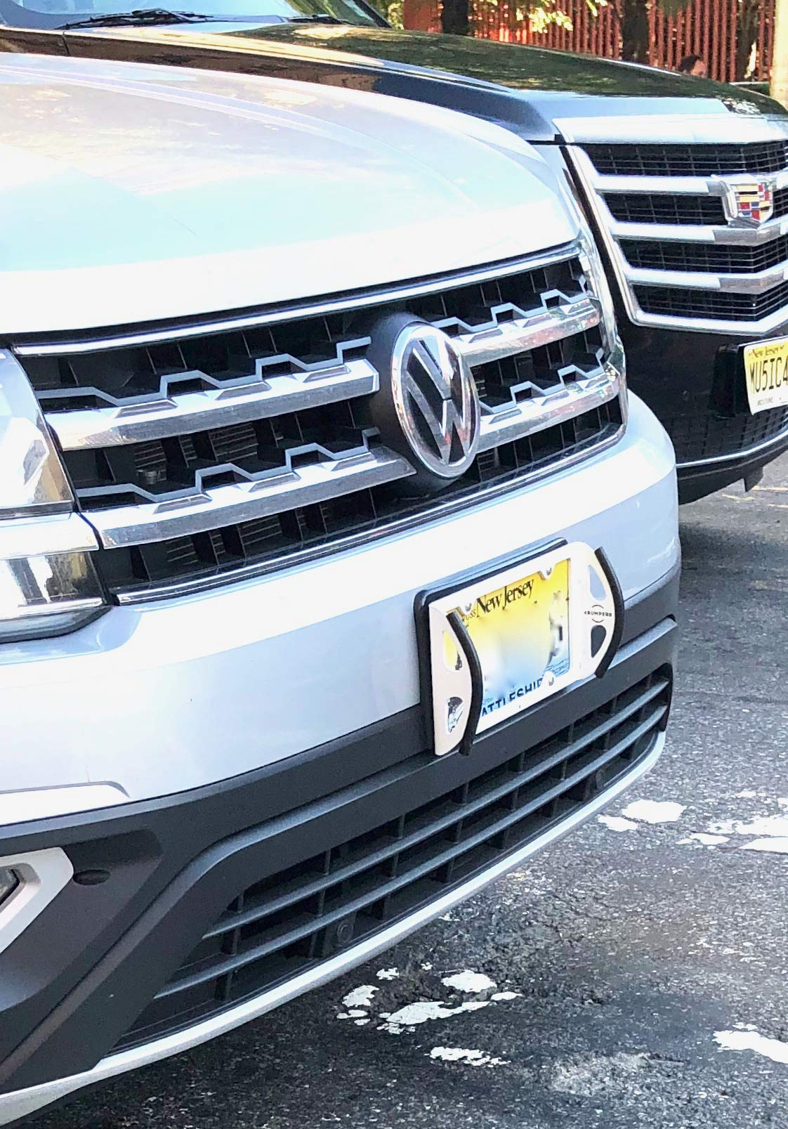 4Bumpers® Duo - The Best Solid Steel License Plate Frame Bumper Protector (Limited Edition White) by 4Bumpers® (Image #3)