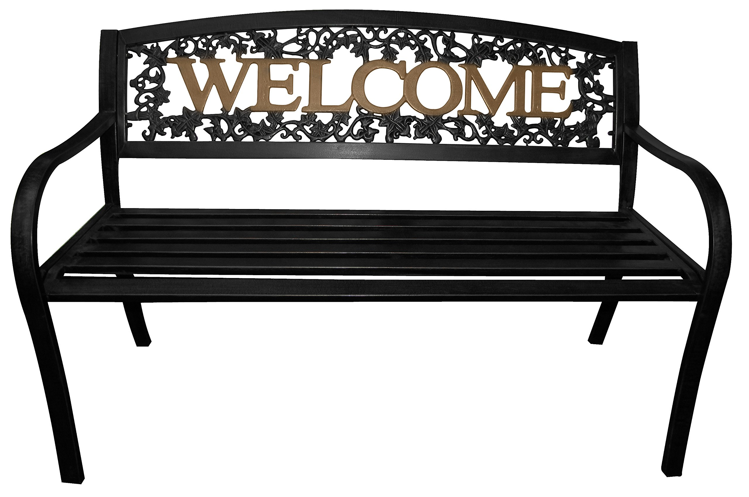 Leigh Country TX 94108 Black and Gold Welcome Bench
