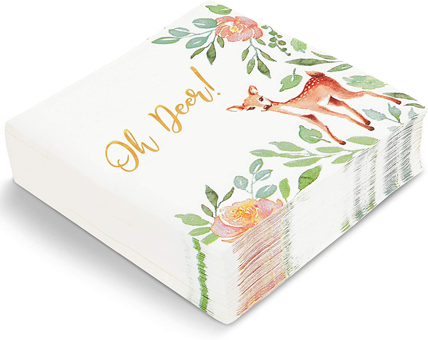Oh Deer Baby Shower Decorations, White Paper Napkins (6.5 In, 50 Pack)