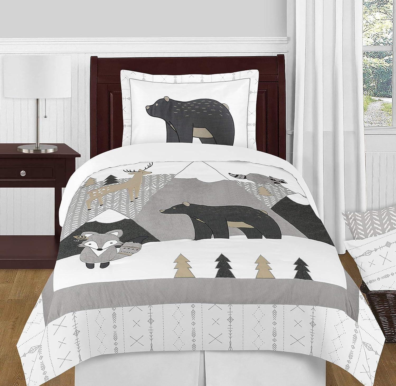 Sweet Jojo Designs Beige, Grey and White Boho Mountain Animal Gray Woodland Forest Friends Unisex Boy or Girl Twin Size Kid Childrens Bedding Comforter Set - 4 Pieces - Deer Fox Bear