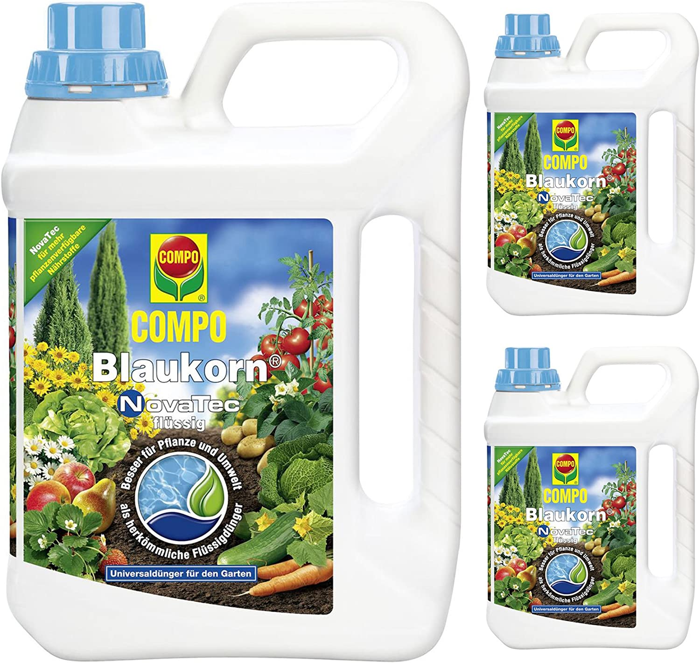 3 x 2, 5 litros Compo Azul grano Novatec líquido universal abono ...