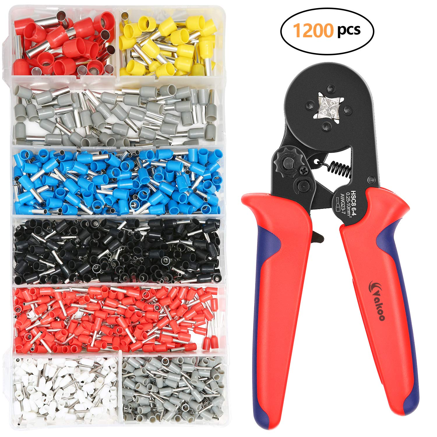 Crimper Tool Kit - VAKOO AWG 23-7 (0.25-10 mm²) Crimping Pliers Set - with 1200 PCS Wire Ferrule Terminals Kit Insulated for Auto and Home Electrical Projects