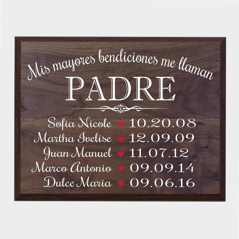Abuelos Barnwood LifeSong Milestones Bendiciones familiares personalizadas Wall Plaque Regalo para Padres mam/á o pap/á con nombres de ni/ños y fechas de nacimiento de 12x 15