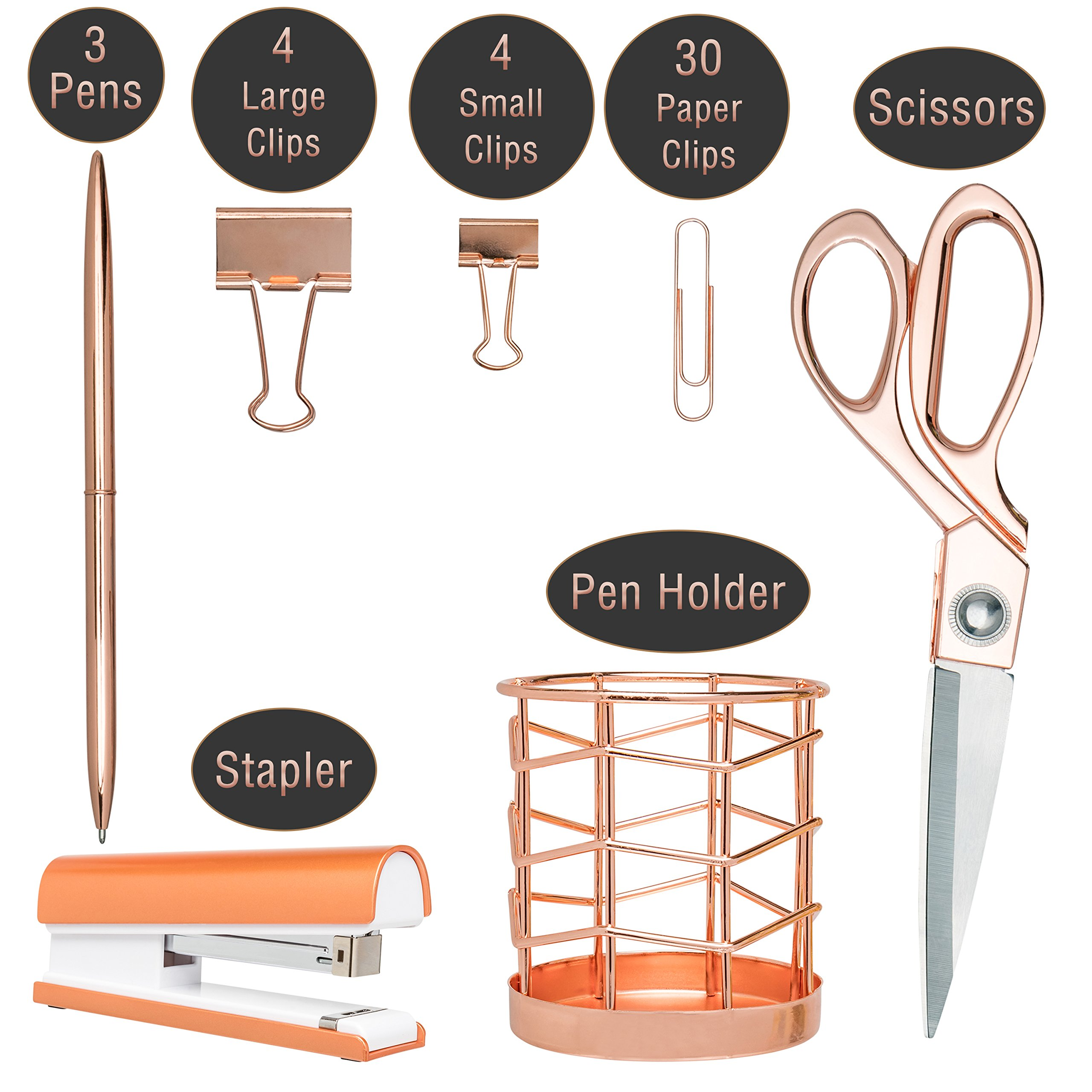 Rose Gold Desk Accessories | 7 Desktop Essentials (44 Items Total) | Office Supply Set & Organizer in Rose Gold Décor by Greenline Goods (Image #3)