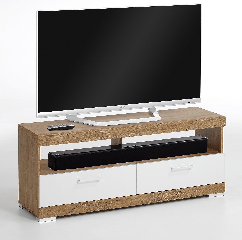 FMD möbel Sorrento S01Meuble TV, 120x 35x 50h cm, chêne brossé, Blanc, nobilitato