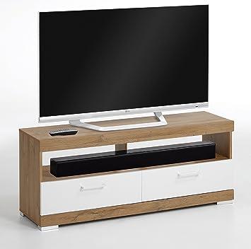 Fmd Möbel Mobile Tv 120 X 35 X 50 H Cm Eiche Gebürstet Weiß