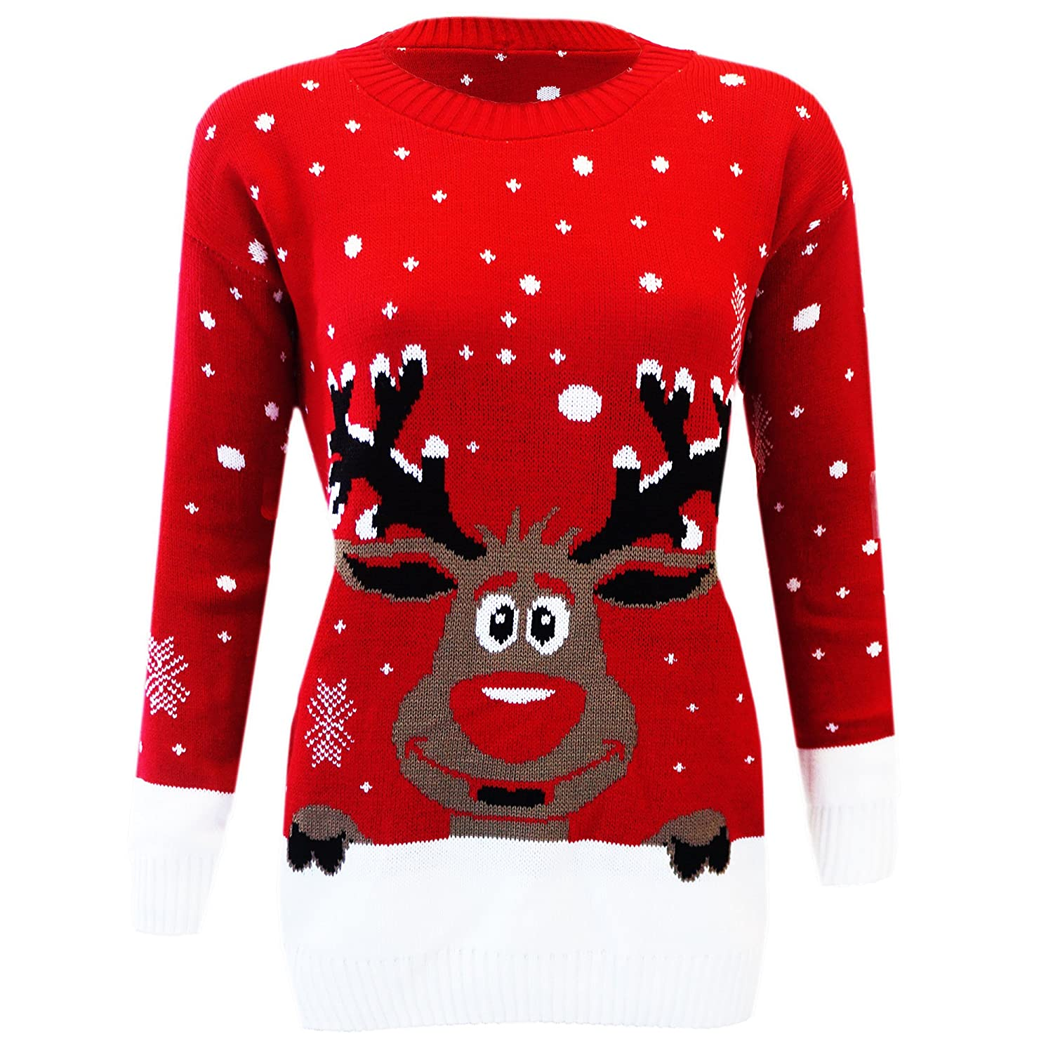 Kids Reindeer Rudolph Novelty Vintage Retro Christmas Snowflake Sweater Jumper