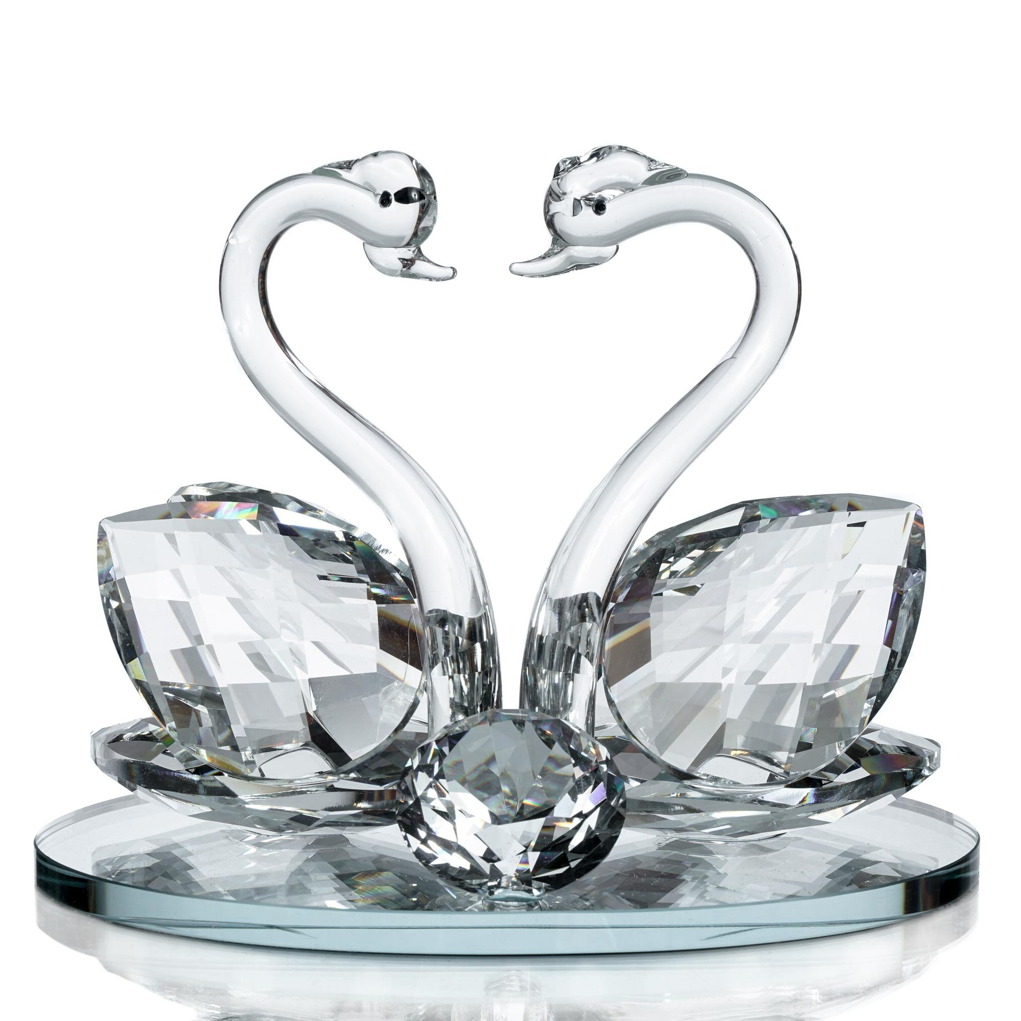 Decorative Crystal Glass Animal Double Swan Model with swarovski crystal elements Giftware Present (set of 1)