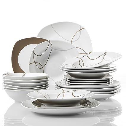 VEWEET 24-Pieces Porcelain Dinner Set Ceramic Tableware Bowl Dessert Soup Plate