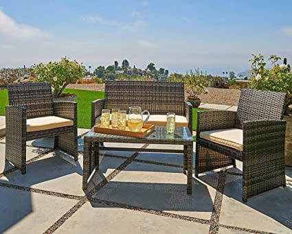 OUTROAD Outdoor Furniture 4 Piece Grey Wicker Patio Sofa Set - All Weather Cushioned Wicker Love Seat W/Glass Top Table & Two Armchairs