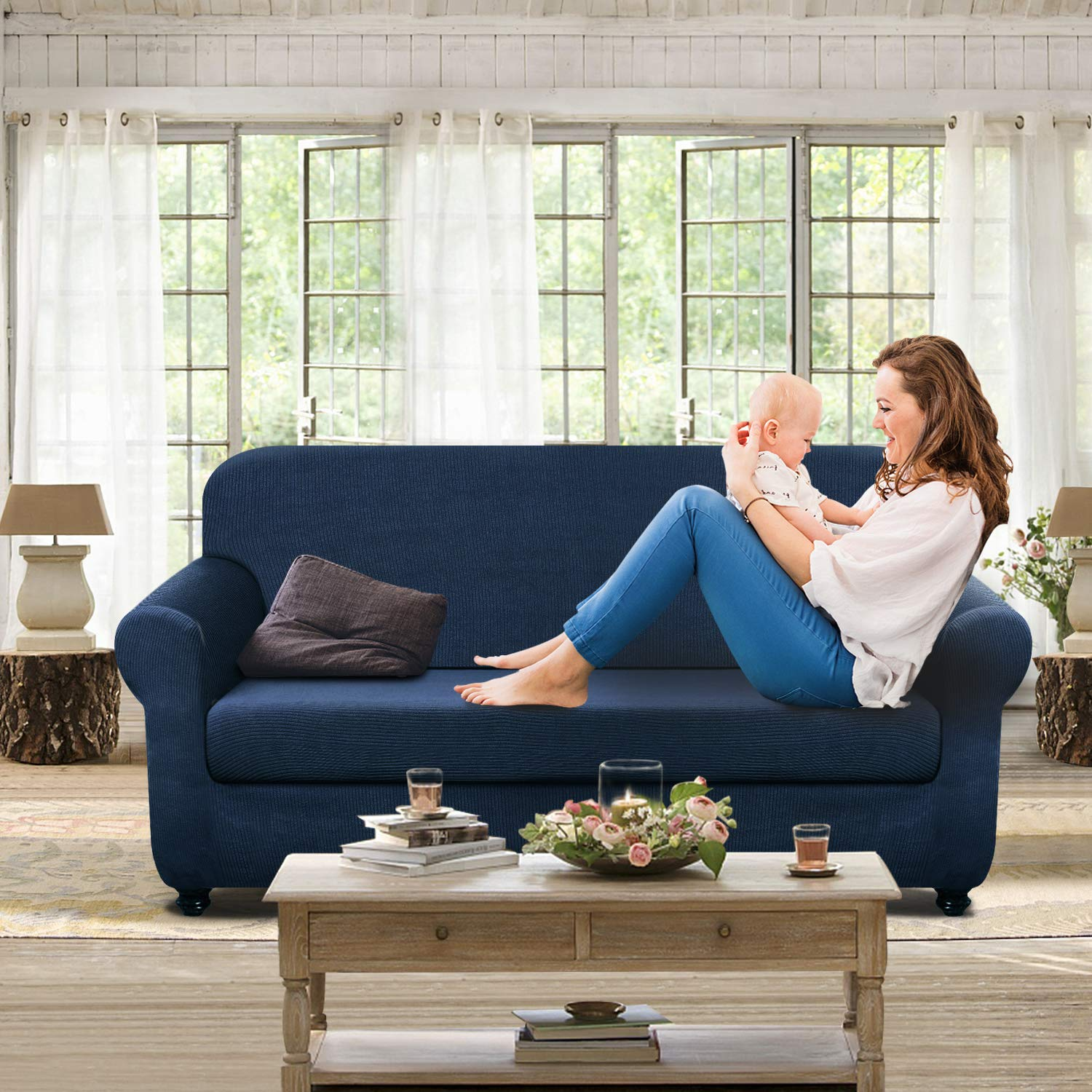 Phenomenal Details About Chelzen Stretch Sofa Covers Living Room 2 Piece Extra Large Couch Covers Striped Machost Co Dining Chair Design Ideas Machostcouk