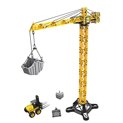 Toy State Caterpillar CAT Apprentice Tower Crane With Fork Lift Construction Vehicle Playset