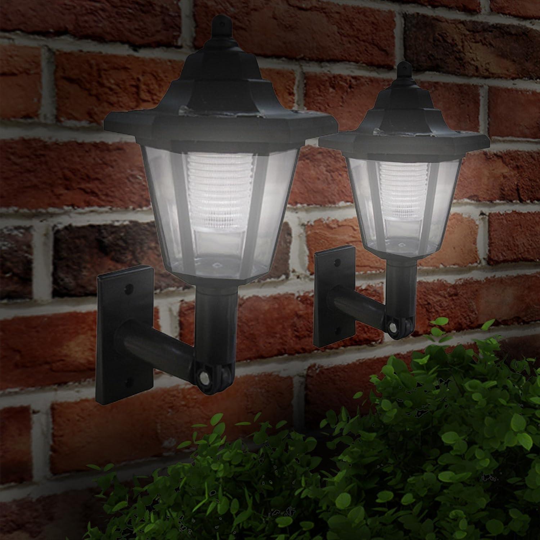 Babz 4 x LED SOLAR POWER WALL LANTERN LAMP SUN LIGHTS BLACK OUTDOOR MOUNT GARDEN