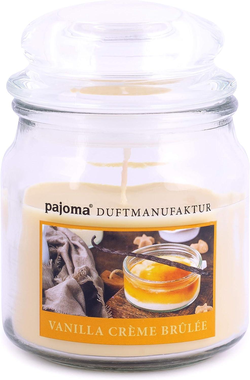 Pajoma Bougie parfum/ée Creme br/ûl/ée en verre Bonbon 180 g Bougies de qualit/é sup/érieure pour fermer la bougie 45 heures