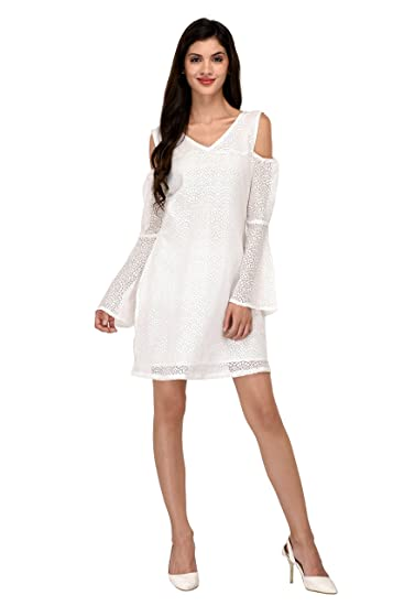 USD Women White Net Cold Shoulder Knee Length Dress  Amazon.in  Clothing    Accessories d1184742f